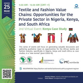 "Kenyan Fashionpreneurs & industry experts: on March 25 we will be organizing the 2nd virtual event of the series ""Textile & fashion value chains: Opportunities for the private sector in Nigeria, Kenya & South Africa"". Register & join us! https://fashion-and-textile.fashionomicsafrica.org/event-register Powered by @afdb_group @fashionomicsafrica #fashionomics #africanfashion #nairobifashionhub #kenyanfashion #africa"